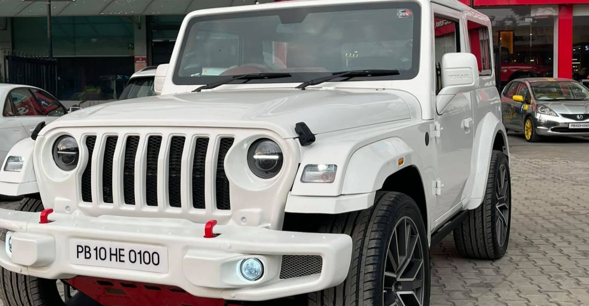 Fully customised Mahindra Thar with all-white paint job looks premium