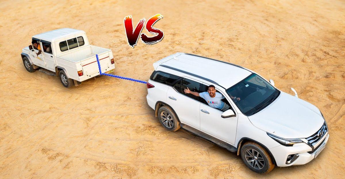 Toyota Fortuner vs Mahindra Bolero Camper in a tug of war