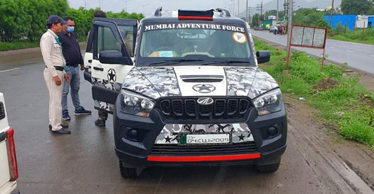 Mahindra Scorpio in army camouflage paint stopped by police: Army paint not allowed