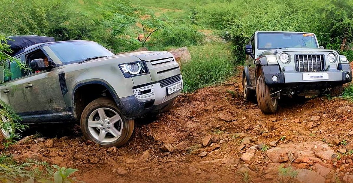 Land Rover Defender gets stuck, Mahindra Thar completes the technical climb