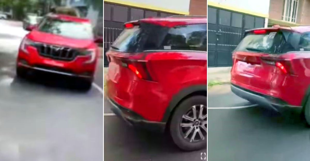 Mahindra XUV700 7 seat SUV spied without camouflage in red colour: Launching soon