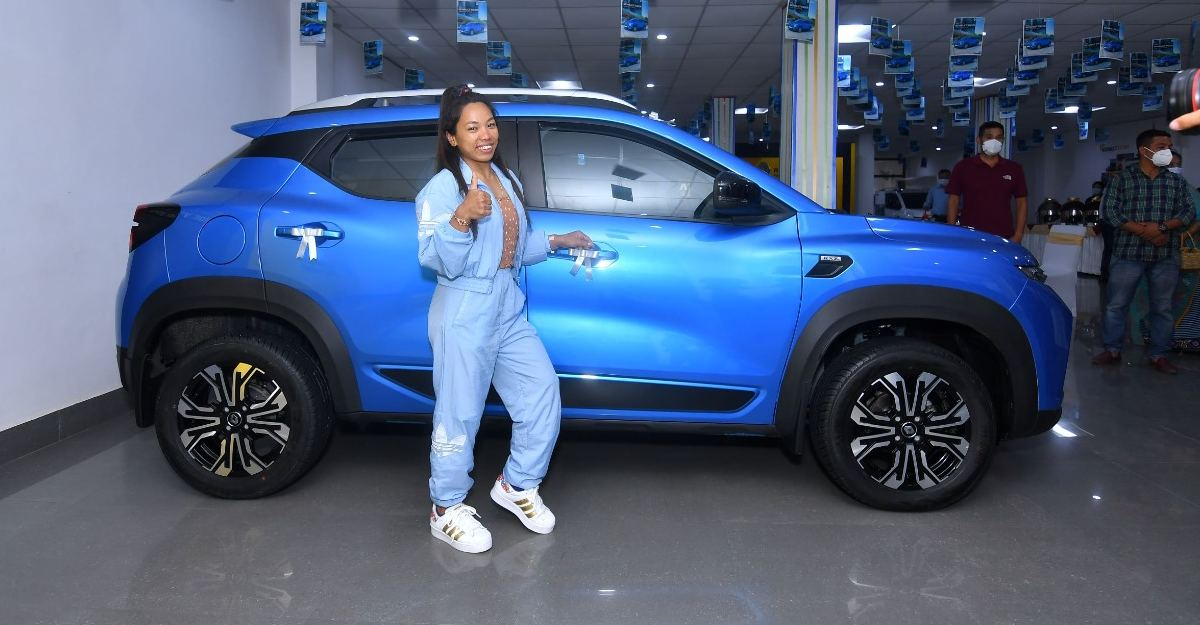 Olympic medal winner Mirabai Chanu gets awarded a Renault Kiger compact SUV