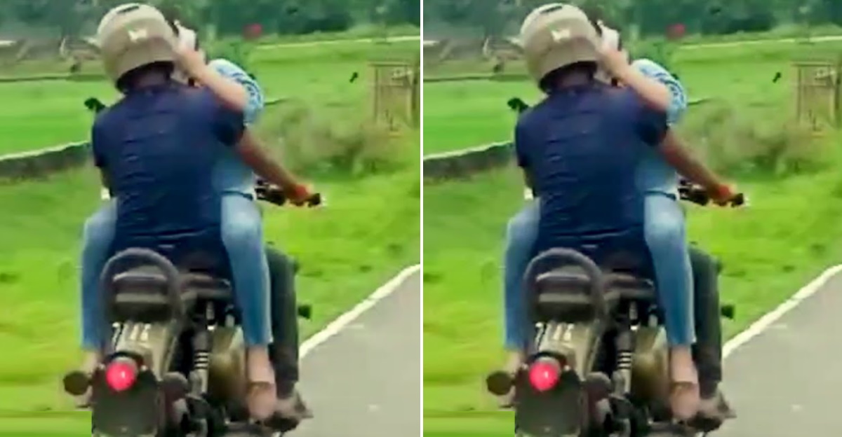 Couple on a Royal Enfield engage in 'inappropriate behaviour': Locals moral police them [Video]