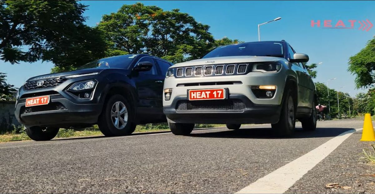 Tata Harrier vs Jeep Compass drag race shows why the Harrier needed an engine update