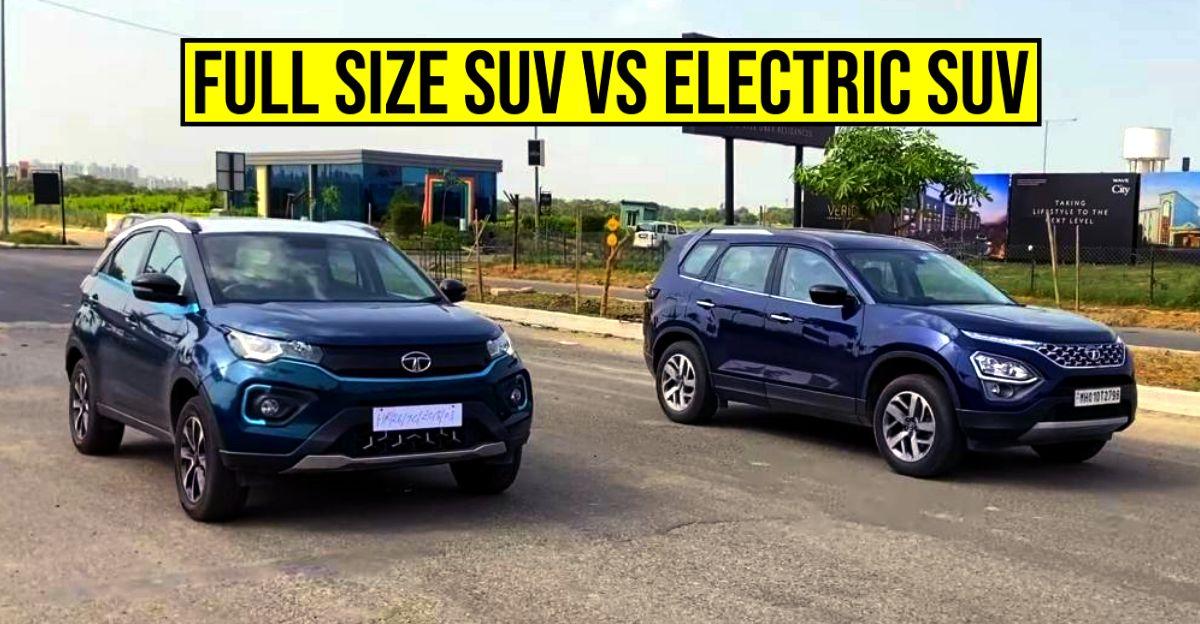 New Tata Safari vs Nexon Electric SUV in a classic drag race