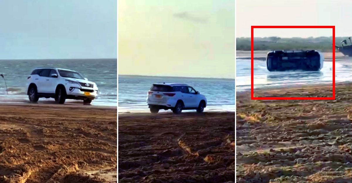 Toyota Fortuner goes drifting on a beach: Rolls over spectacularly