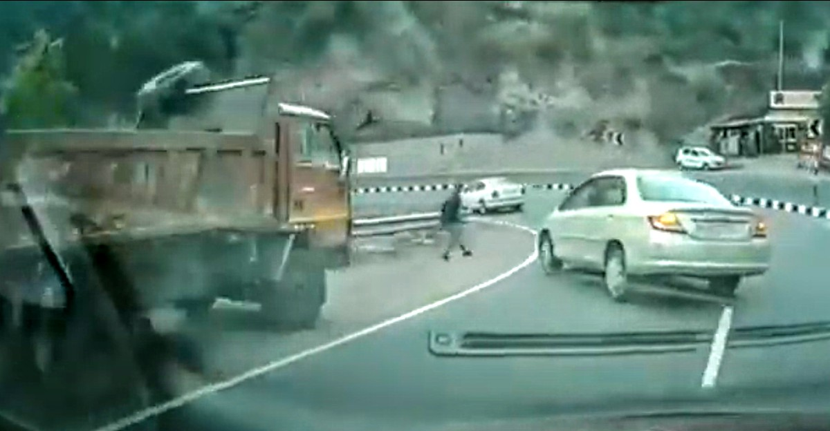 Out-of-control Honda City saved by side barrier