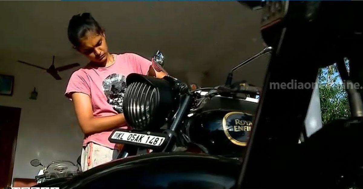 Meet Diya, a 19 year old girl from Kerala who repairs Royal Enfield motorcycles