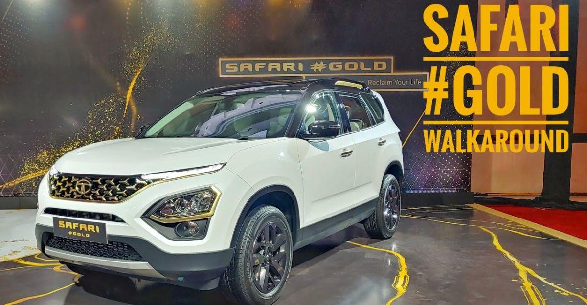 Tata Safari SUV Gold Edition in a walkaround video