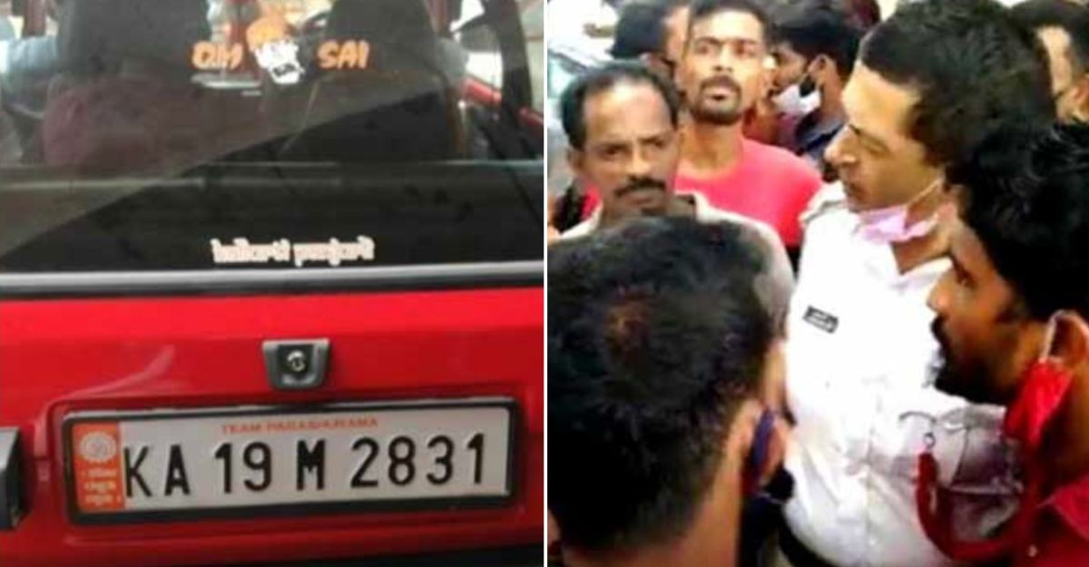 Cop asks sticker to be removed from car number plate: Religious activists protest