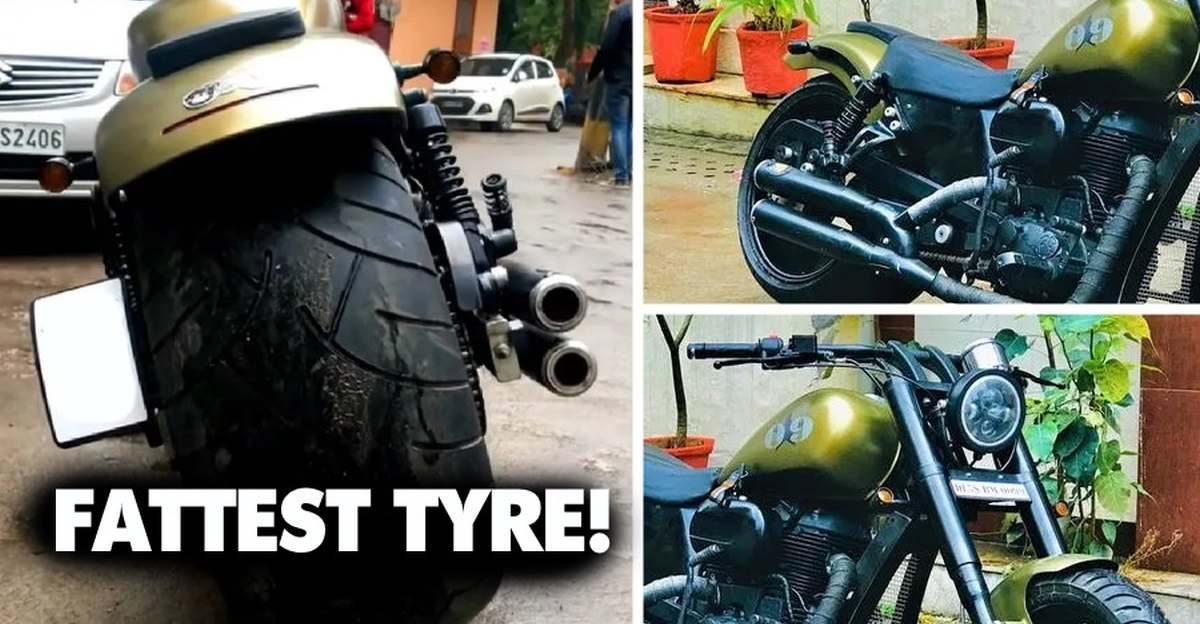 Royal Enfield Classic 500 with fattest tyre looks wild