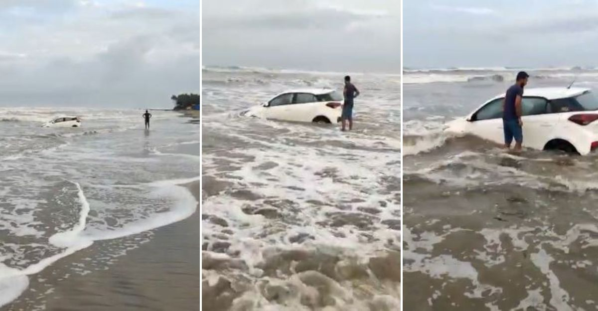 Hyundai i20 owner goes driving on the beach: Gets stuck in the sea
