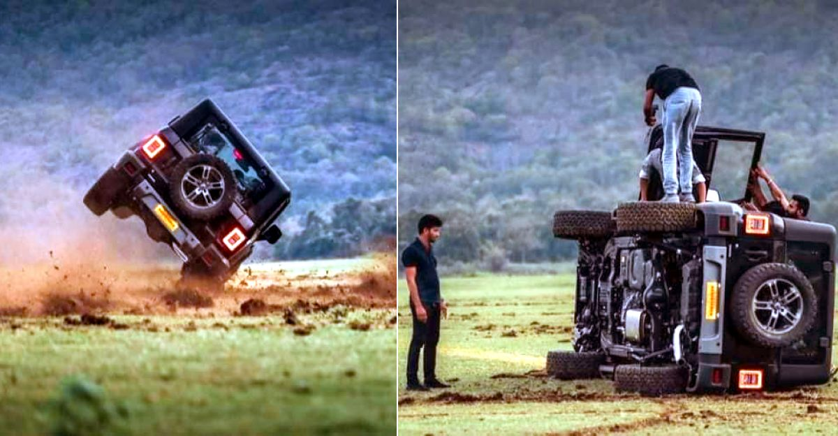 Brand new Mahindra Thar SUV topples after going drifting