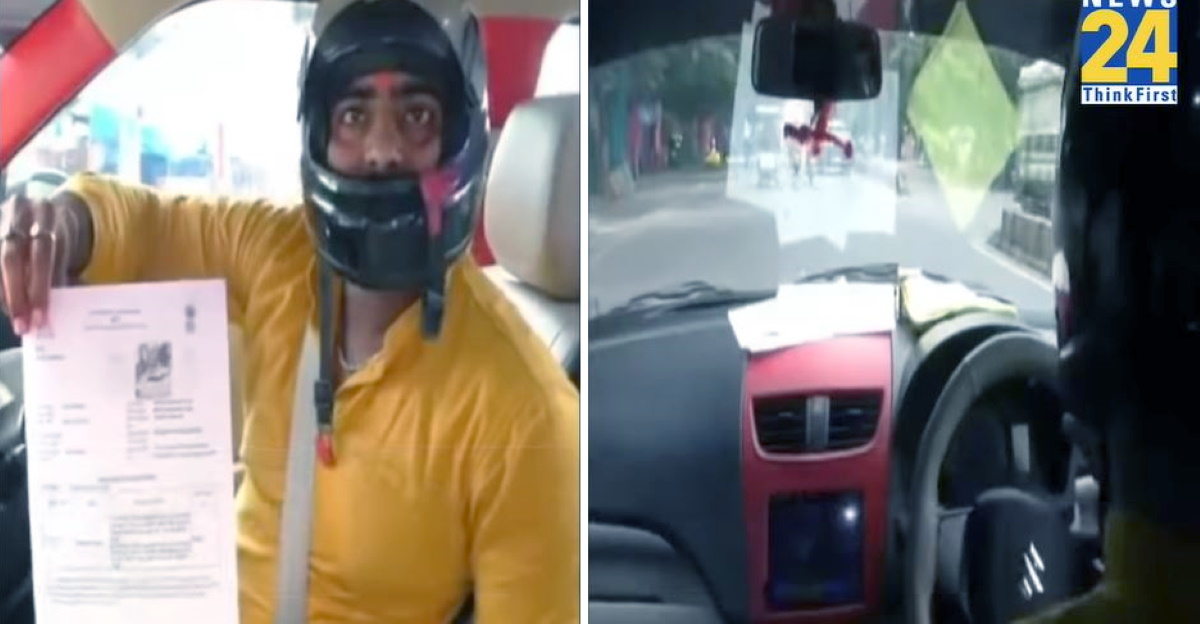 Man begins wearing helmet after getting fined for driving Maruti Dzire without helmet