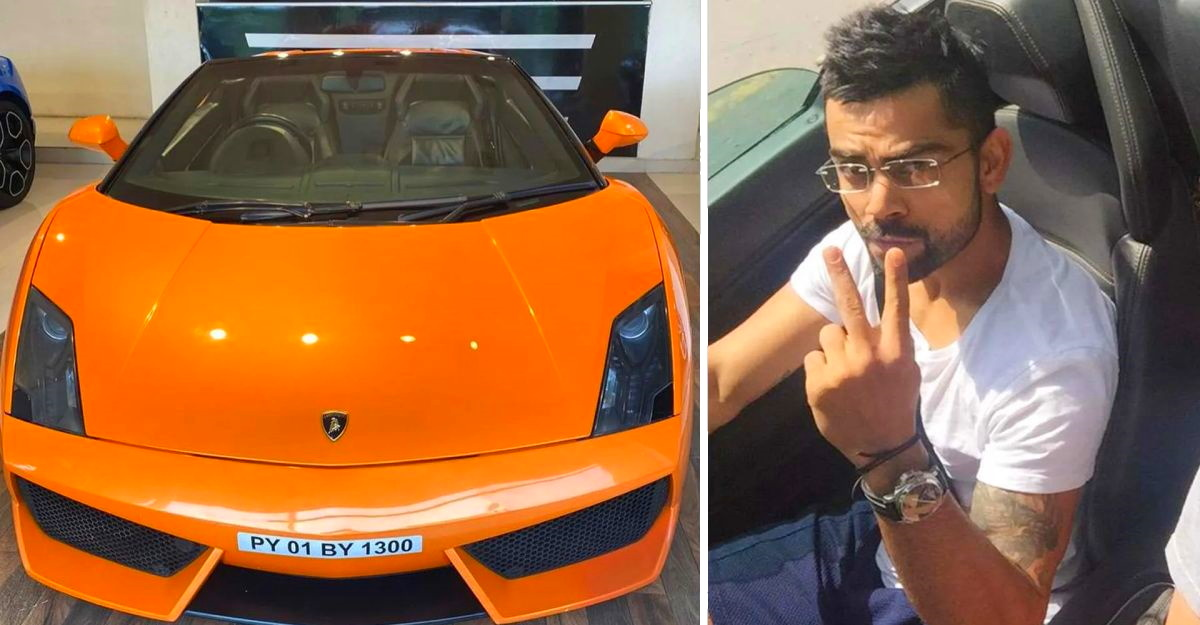 Virat Kohli's former Lamborghini Gallardo supercar at used car showroom attracting crowds!