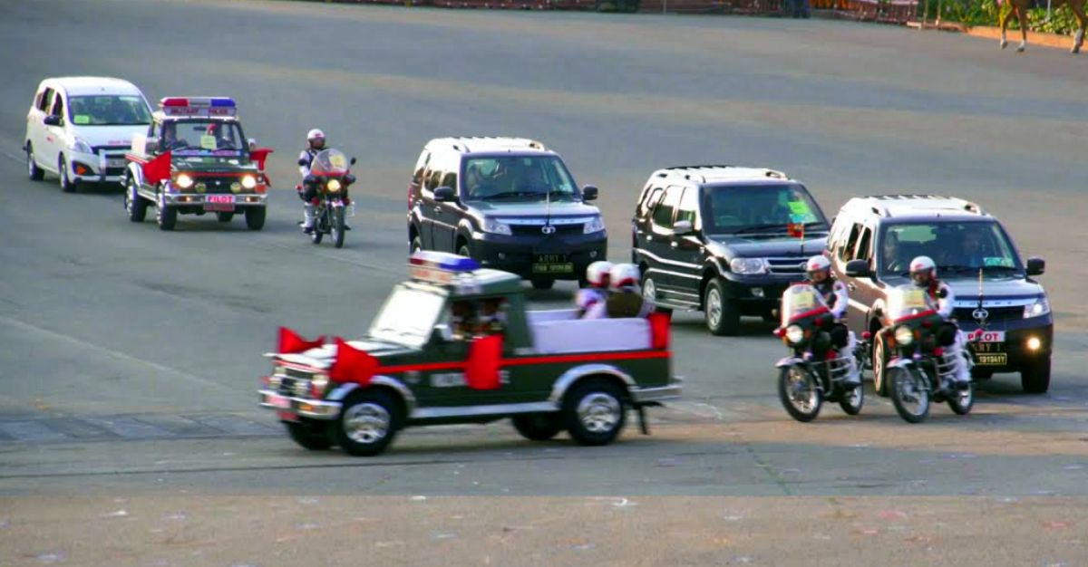 Indian Army Chief's Convoy with Tata Safari & Storme on video