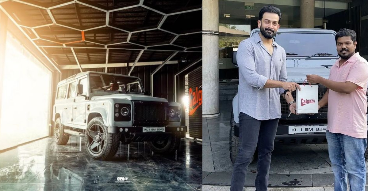 Actor Prithviraj gets his older generation Land Rover Defender 110 SUV beautifully restored